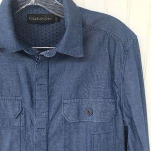 CALVIN KLEIN Blue Chambray Denim Long Sleeve Shirt